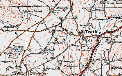 Old map of Whitewell in 1919