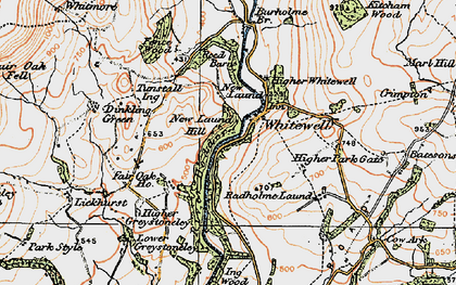 Old map of Whitewell in 1924