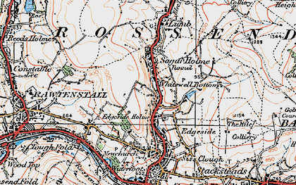 Old map of Whitewell Bottom in 1924
