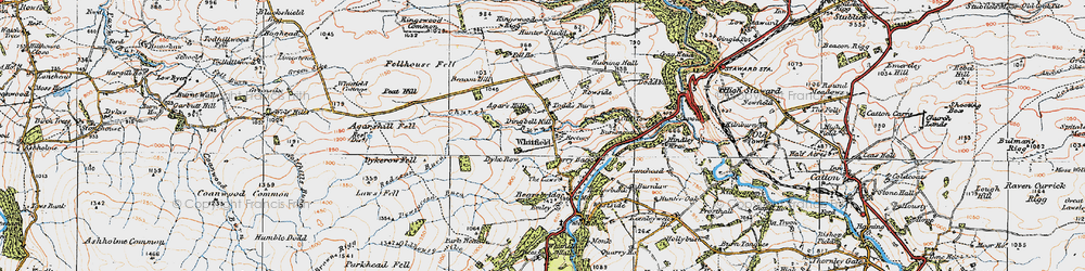 Old map of Agarshill Fell in 1925