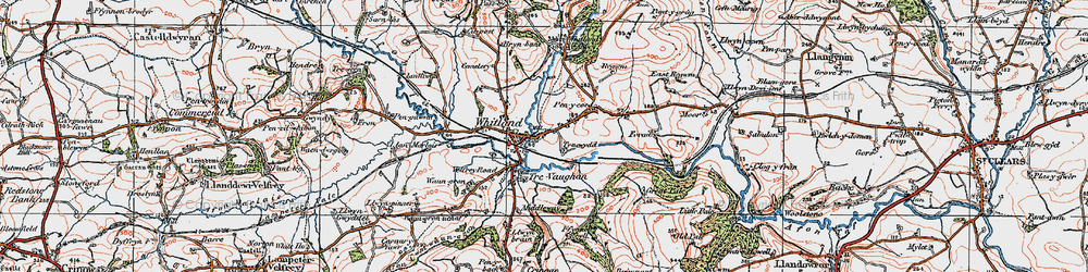 Old map of Whitland in 1922
