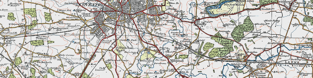 Old map of Whitley in 1920