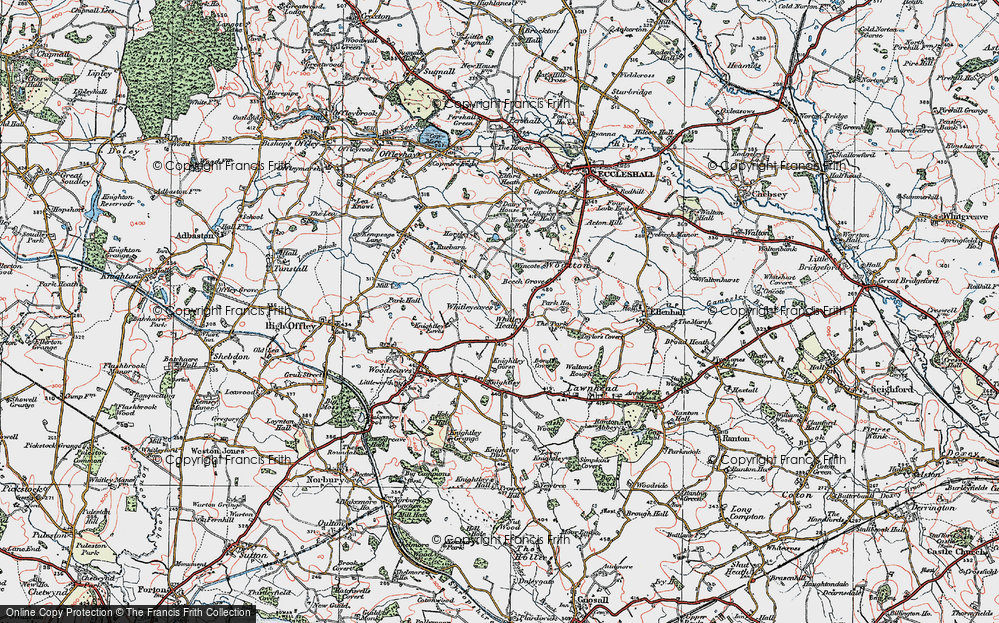Old Map of Whitley Heath, 1921 in 1921