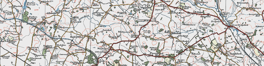 Old map of Whitleyeaves in 1921