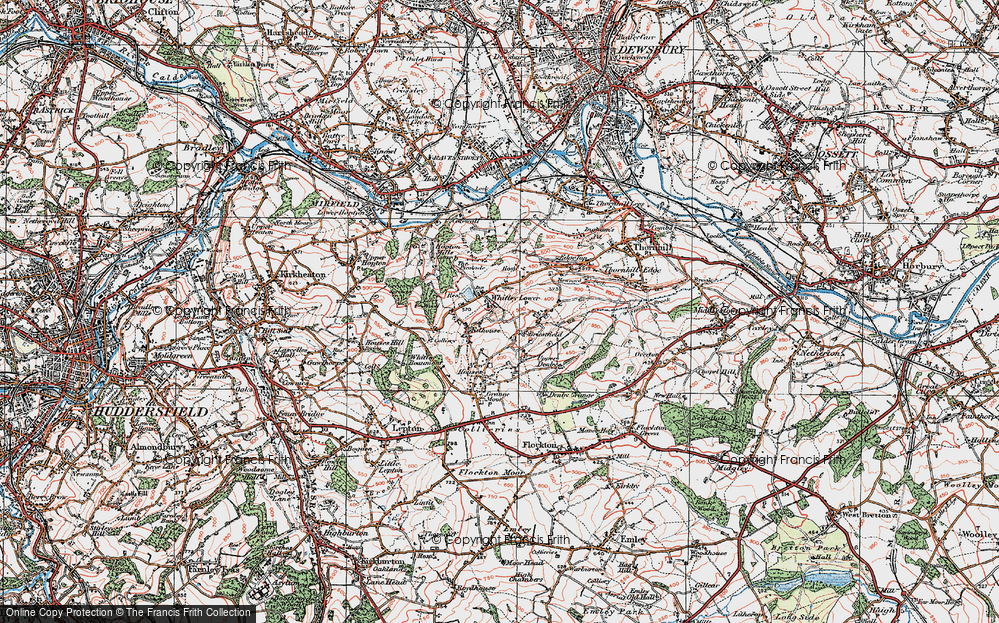 Old Map of Whitley Lower, 1925 in 1925