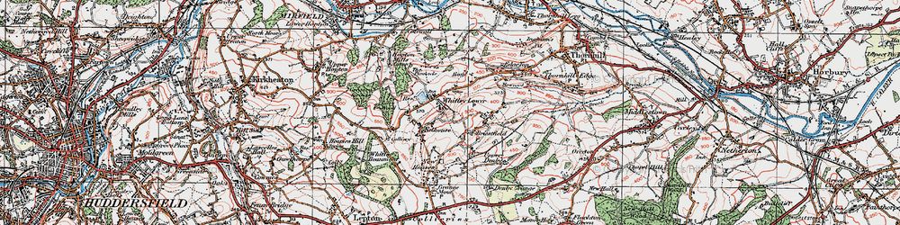 Old map of Whitley Lower in 1925
