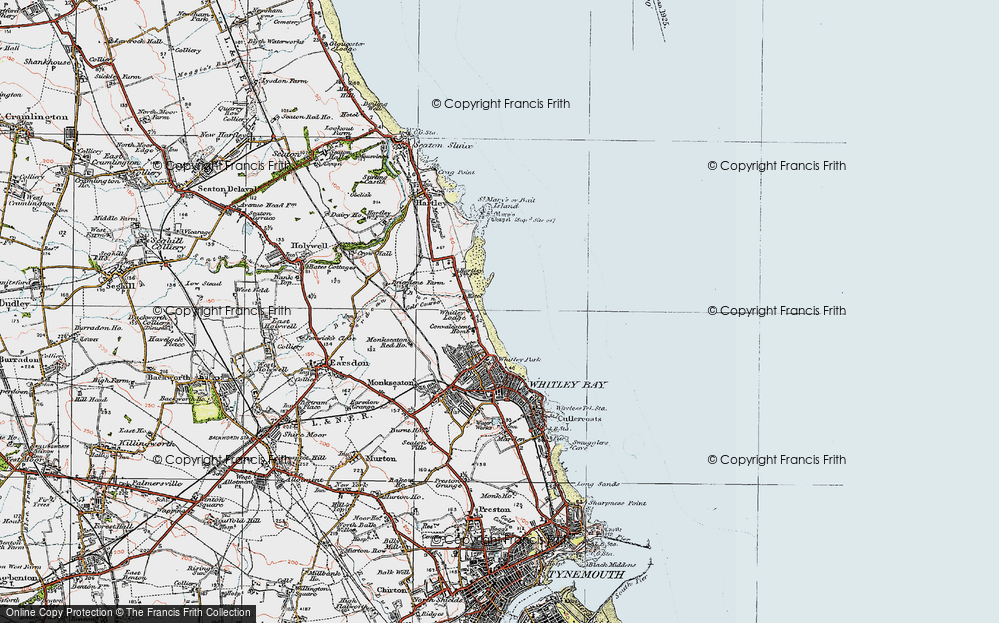 Old Map of Whitley Sands, 1925 in 1925