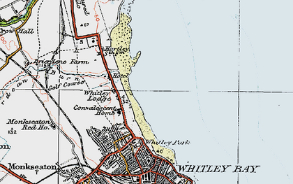 Old map of Whitley Sands in 1925