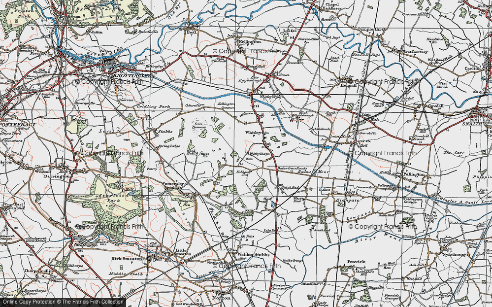 Old Map of Historic Map covering Balne Moor Cross Roads in 1924