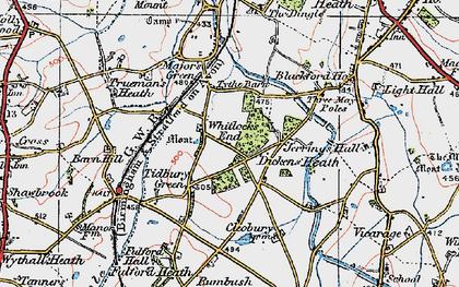 Old map of Whitlock's End in 1921