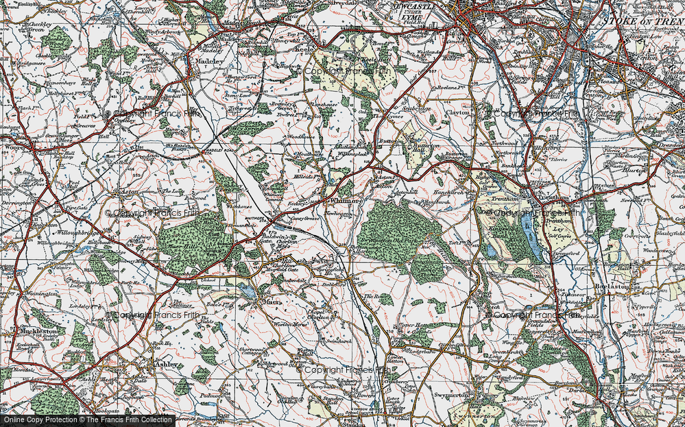 Old Map of Whitmore, 1921 in 1921
