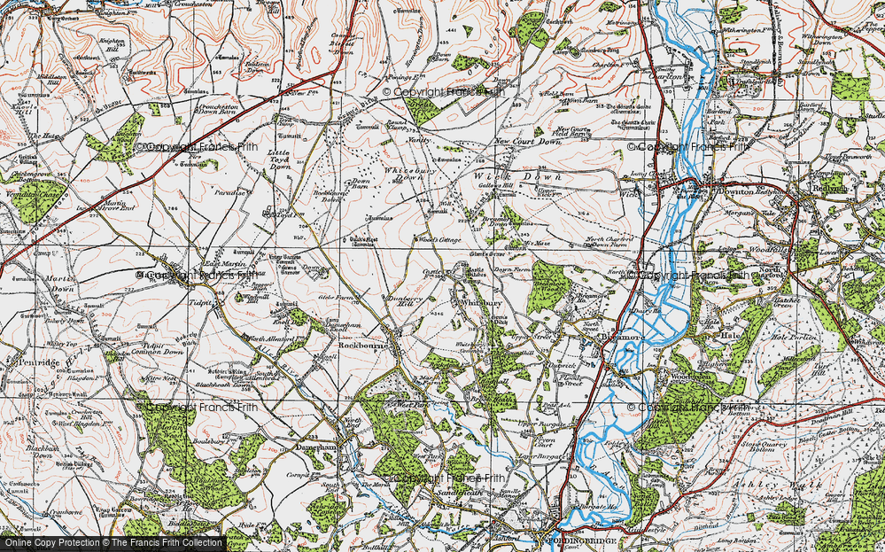 Old Map of Historic Map covering Whitsbury Down in 1919