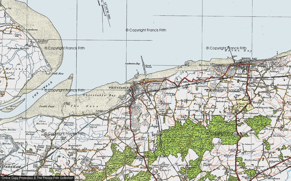 Map of Whitstable 1920 Francis Frith