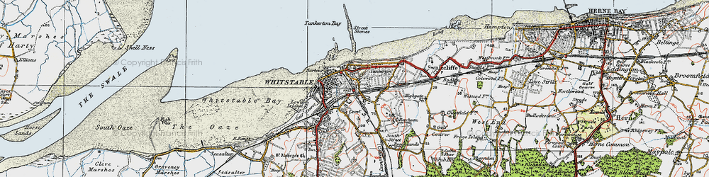 Old map of Whitstable in 1920