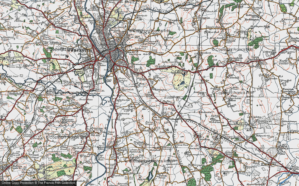 Old Map of Historic Map covering Worcestershire in 1920
