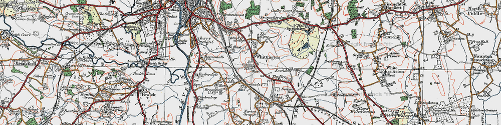 Old map of Whittington in 1920
