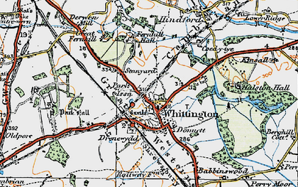 Old map of Whittington in 1921