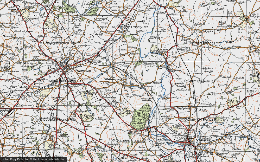 Old Map of Whittington, 1921 in 1921