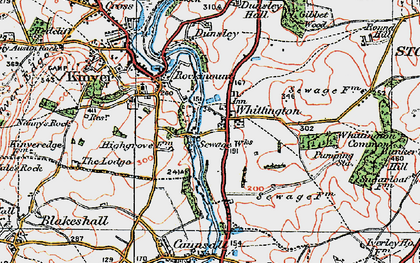 Old map of Whittington Common in 1921