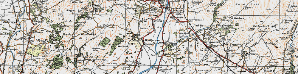 Old map of Whittington in 1925
