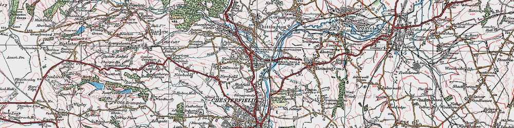 Old map of Whittington Moor in 1923