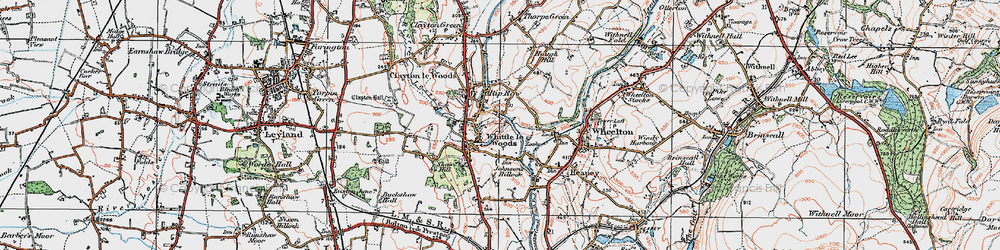 Old map of Whittle-le-Woods in 1924