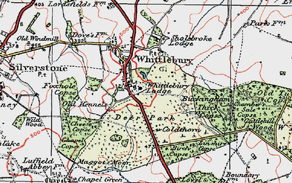 Old map of Whittlebury in 1919