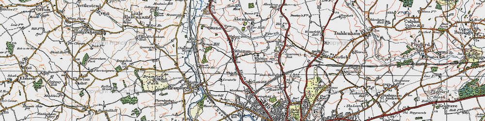 Old map of Whitton in 1921