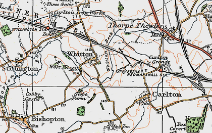 Old map of Whitton in 1925