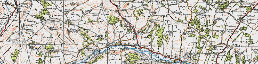 Old map of Whittonditch in 1919