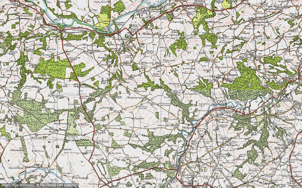 Old Map of Historic Map covering Whittonstall Sproats in 1925