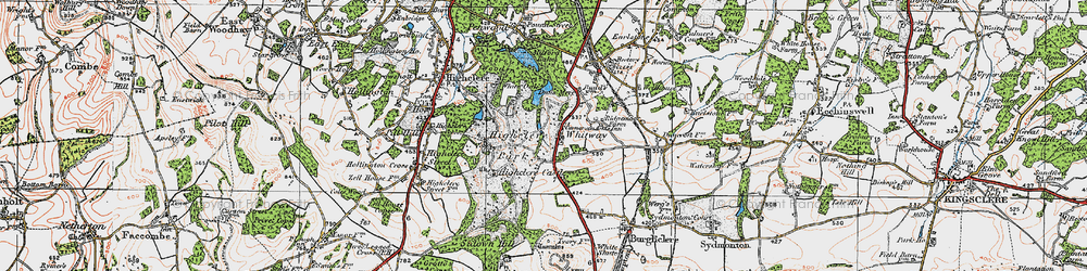 Old map of Whitway in 1919