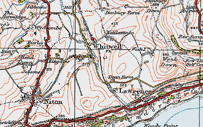 Old map of Whitwell in 1919