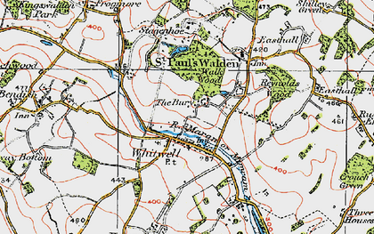 Old map of Whitwell in 1920