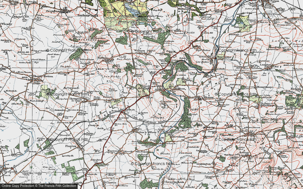 Old Map of Whitwell-on-the-Hill, 1924 in 1924