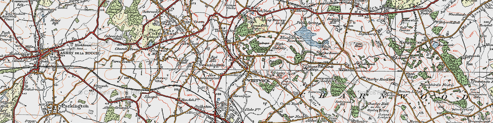 Old map of Whitwick in 1921
