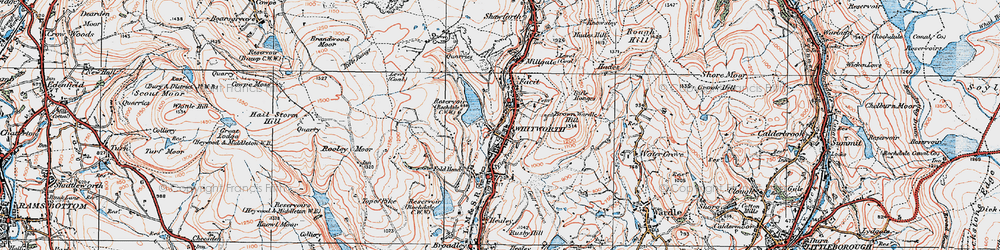 Old map of Whitworth in 1924