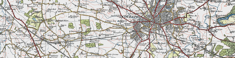 Old map of Whoberley in 1920