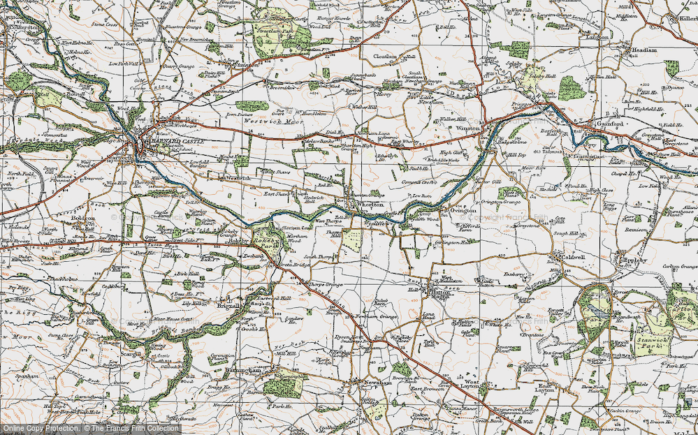 Old Map of Whorlton, 1925 in 1925