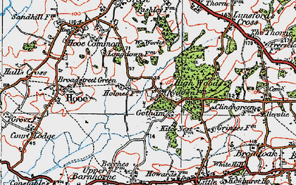 Old map of Whydown in 1920