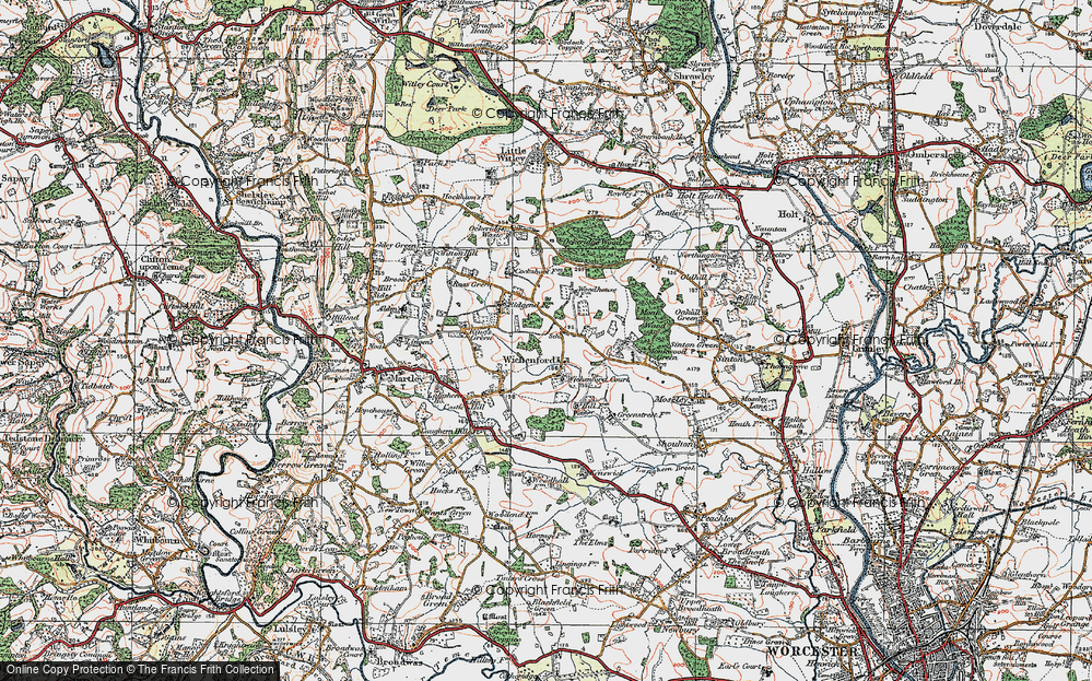 Old Map of Wichenford, 1920 in 1920