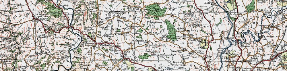 Old map of Wichenford Court in 1920