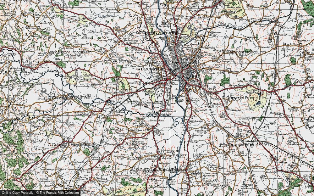 Old Map of Wick Episcopi, 1920 in 1920