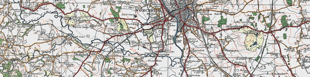 Old map of Wick Episcopi in 1920