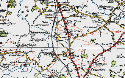 Old map of Wick Hill in 1921