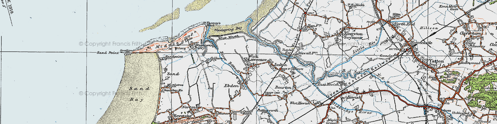 Old map of Wick St Lawrence in 1919