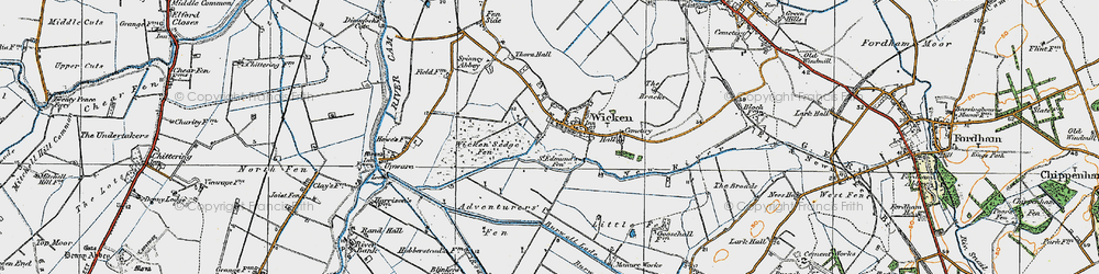 Old map of Wicken Lode in 1920