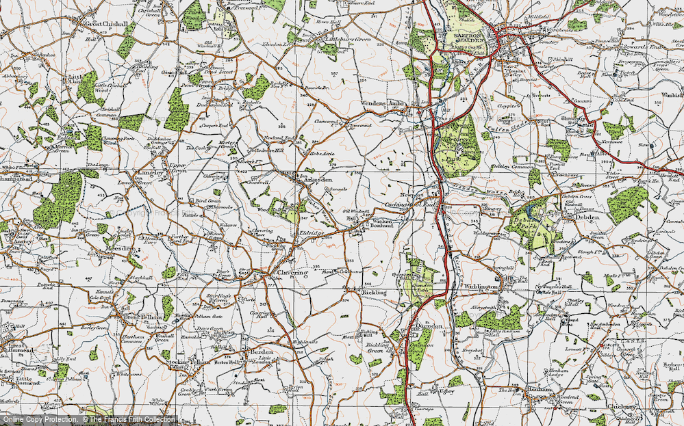 Old Map of Historic Map covering Wicken Water in 1919
