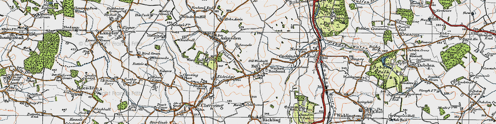 Old map of Wicken Water in 1919