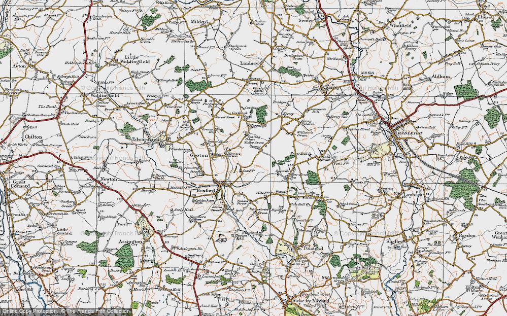 Old Map of Wicker Street Green, 1921 in 1921
